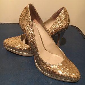 Nine West Gold Sparkly Heel